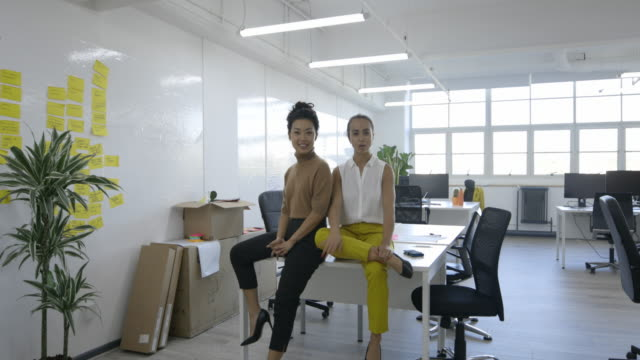 Explaining Business Two women colleagues sitting on a table looking at the camera and talking. They are smiling and laughing together. real life stock videos & royalty-free footage