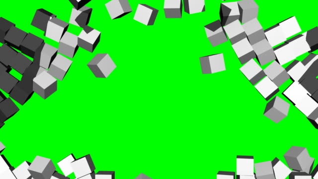 Exploding 3D Block Wall (White to Chroma Green) video