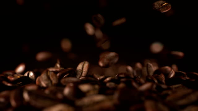Exploding coffee beans in real super slow motion video