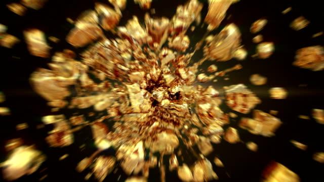 взрыв золотых драгоценных камней в 4k - камень стоковые видео и кадры b-roll