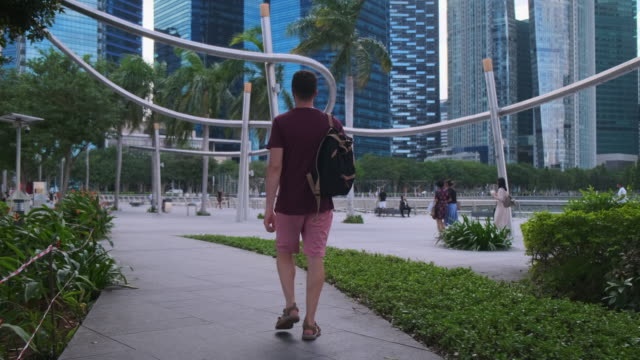 Exploring Singapore. Relaxing walk in downtown