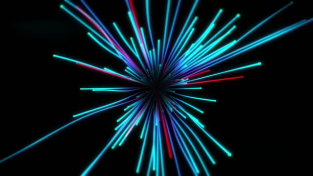 Explosion of glowing particles with trails animation video