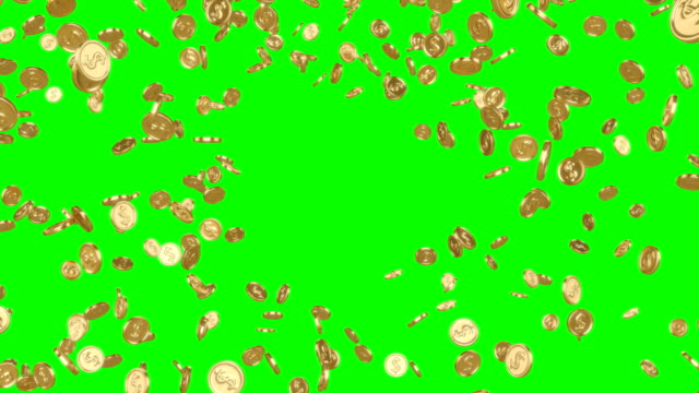 Explosion of gold coins turning into a tornado on a green background..