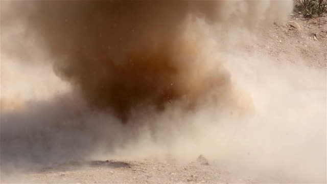 Explosion of high explosives in a specific area below the ground. video