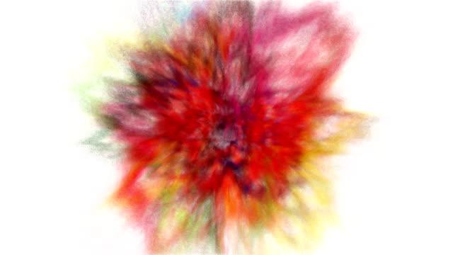 stockvideo's en b-roll-footage met explosie van veelkleurige regenboog poeder en verf voor holi met alfa mat. - talk