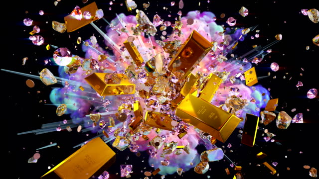 Explosion of valuables on the black background High quality explosion of valuables on the black background in 4K luck stock videos & royalty-free footage