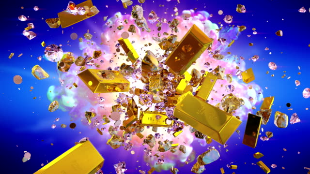 explosion of valuables on the blue background - scatola del tesoro video stock e b–roll