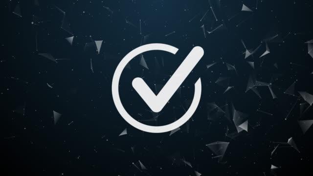 vídeos de stock, filmes e b-roll de introdução explosiva de sinal de verificação, marca de verificação, aprovação, confirmação, validação, conceito ok. composição poligonal de aceitação, permissão, aprovação, aceitar símbolo. - validação