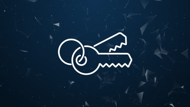 Explosive introduction of keys access concept. Polygonal animation 4k