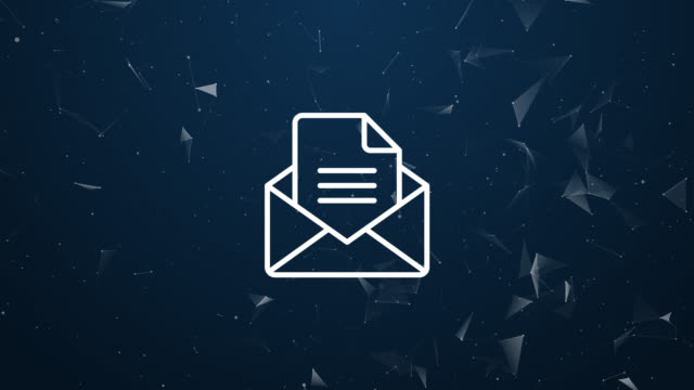 explosive introduction of mail envelope concept. polygonal animation, 4k - newsletter video stock e b–roll