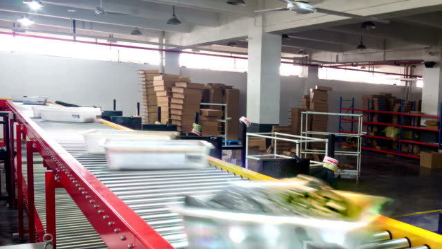 express delivery package sorting assembly line,timelapse. video