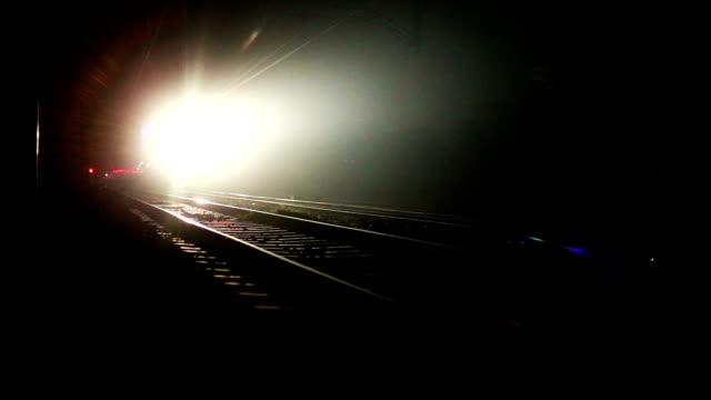 Express train moving forward at night