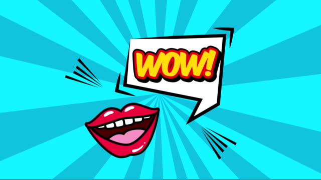 expression speech bubble with mouth pop art style video