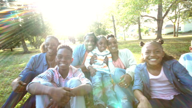 Extended African-American family sitting on grass, sunny video