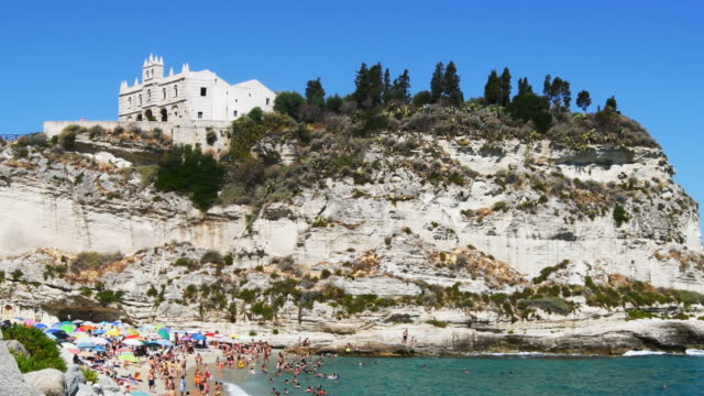 extensive views of tropea monastery in southern italy - tropea video stock e b–roll