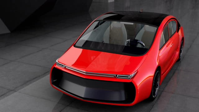 Exterior of red electric car with high glossy car paint video