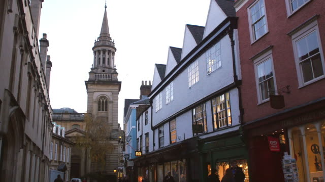 Exterior Of Shops And Church In Oxford City Centre At Dusk video