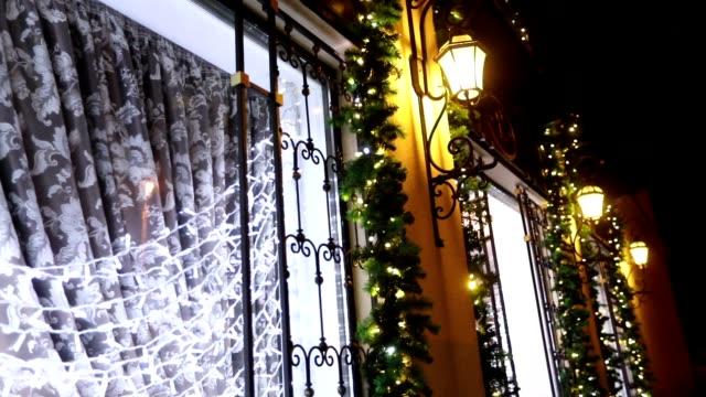 Exterior of the restaurant at Christmas, the Christmas decoration, the restaurant faade, glowing lights, Outside, stained glass, New Year's decorations, new year 2018 video