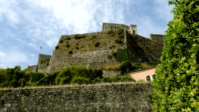 Exterior view of the old fortress the Paleo Frurio in Corfu in Greece. 4K