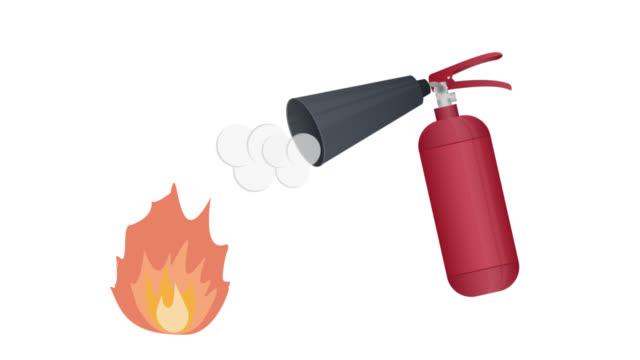 Extinguisher. Animation of fire extinguishing. Fire, cartoon