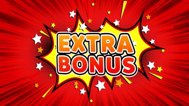 extra bonus text pop art style comic expression. - bonus video stock e b–roll