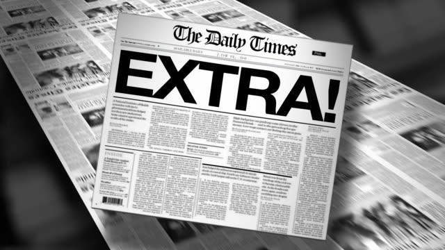 Extra! Newspaper Headline (Reveal and Loop) 4K HD Animation video
