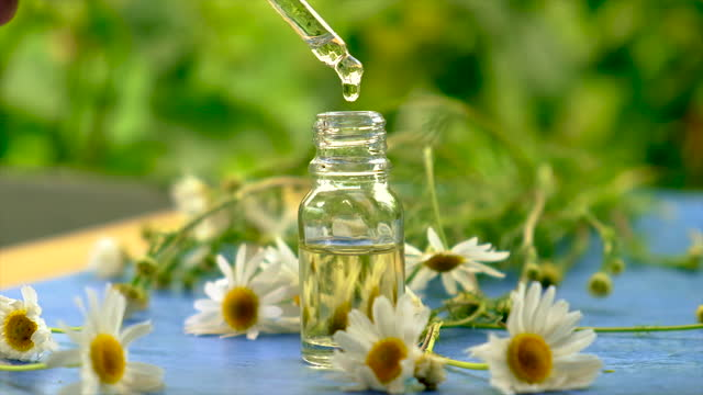 extract and tincture of chamomile in a small bottle. Selective focus. nature. extract and tincture of chamomile in a small bottle. Selective focus. nature. lip balm stock videos & royalty-free footage