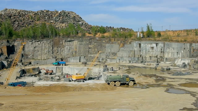 Extraction of granite stone in a quarry video