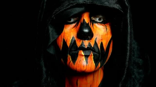 Extreme Close Up Halloween Pumpkin Face Paint
