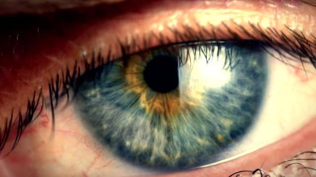 Extreme close iris en el ojo humano - vídeo