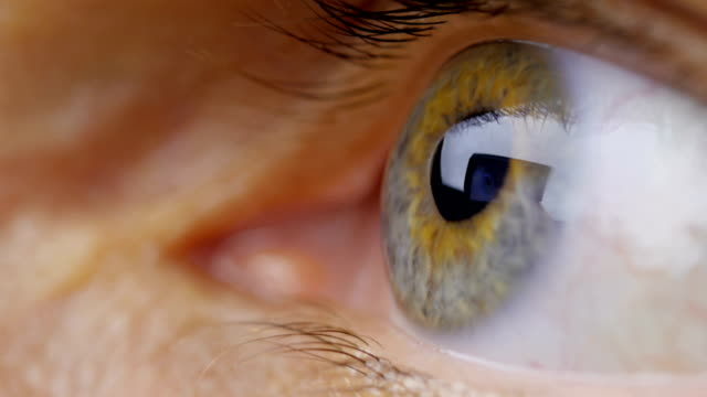 Extreme close up human eye iris Extreme close up and pan across of eyes looking in all directions. leaf vein stock videos & royalty-free footage