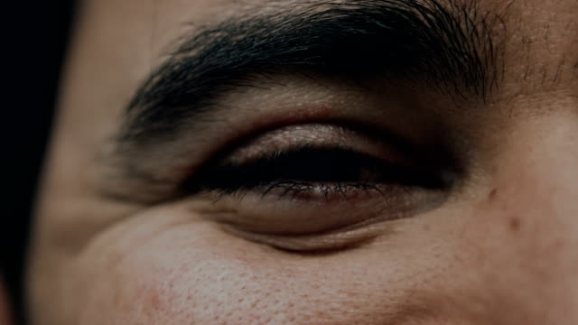 Extreme Close up of a Man's Eye as He Smiles video