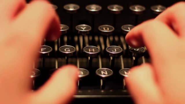 Extreme Close Up Typing on a Typewriter video