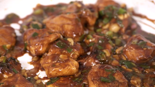 extreme closeup of teriyaki chicken preparing - indian food stock videos and b-roll footage