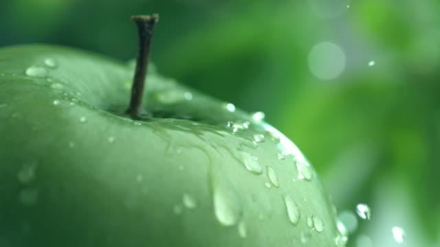 extreme nahaufnahme von wasser tropf auf apple in zeitlupe - nass stock-videos und b-roll-filmmaterial
