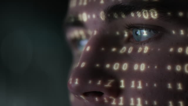 Extreme close-up of young hacker