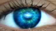 istock Extreme closeup on blue eye. Entering digital tunnel 1167980736