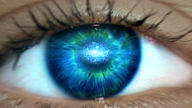 Extreme closeup on blue eye. Entering digital tunnel