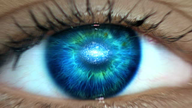 Extreme closeup on blue eye. Entering digital tunnel Man eye details. Entering mind eyesight stock videos & royalty-free footage