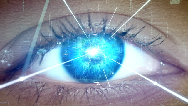Extreme closeup on blue eye. Entering human mind