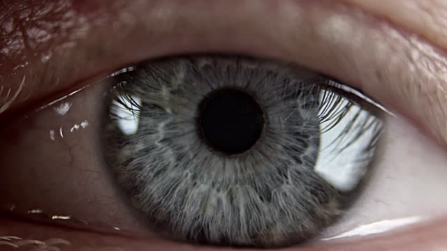 extreme closeup on blue human eye - wzrok filmów i materiałów b-roll