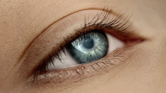Extreme closeup on blue human eye Female human eye details eyelash stock videos & royalty-free footage