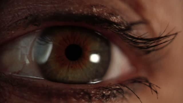 極端なクローズアップを見つめる眼球 - 検眼医点の映像素材/bロール