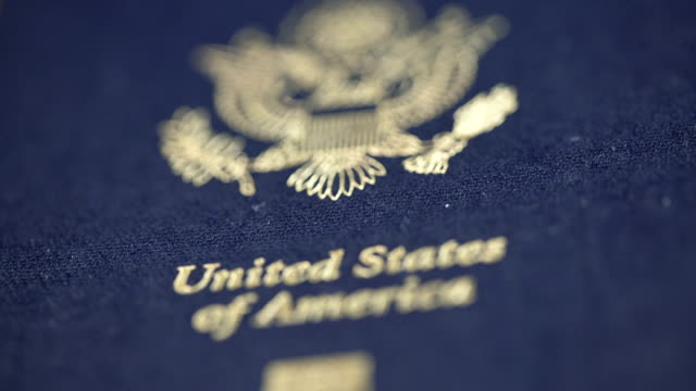 Extreme CU Dolly Shot of USA Passport, Shallow DOF video
