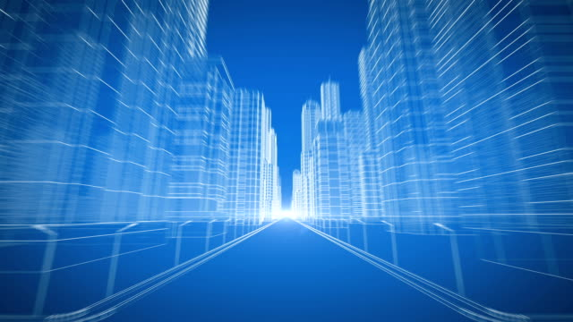 Extreme Fast Moving Through Modern City Digital 3d Blueprint. Running to the Light. Construction and Technology Concept. Blue Color 3d Animation. 4k UHD 3840x2160.