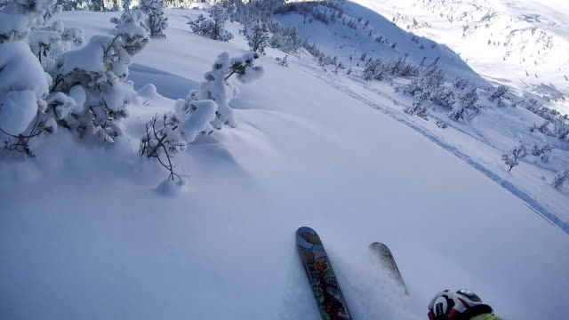 FPV: Extreme freeride skier skiing in fresh powder snow on a perfect winter day video