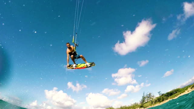 Extreme Kite Boarding Trick Over Camera video