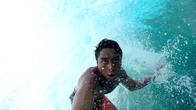 SLOW MOTION: Extreme pro surfer surfing big tube barrel wave video