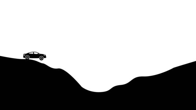 extreme road. simple car track animation. alpha luma matte 4k video - traccia video stock e b–roll