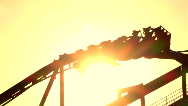 SLOW MOTION: Extreme roller coaster ride upside down looping video